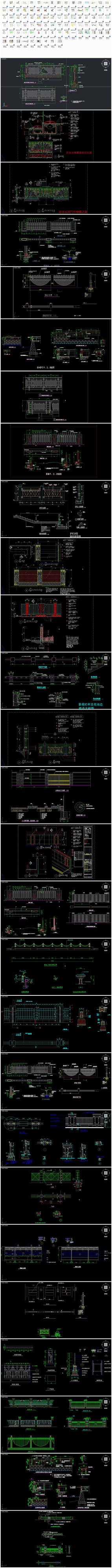 滨水河道栏杆护栏围墙钢构设计CAD施工图