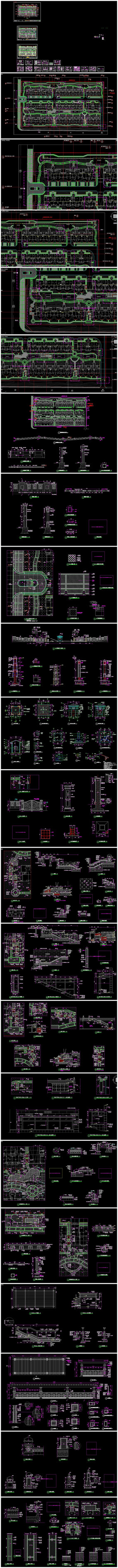 居住区社区小区景观设计全套CAD施工图