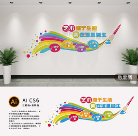 创意艺术画笔美术室文化墙