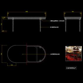 美式餐桌CAD玄关桌书桌家具图库