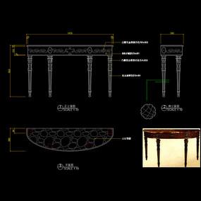 美式家具玄关桌CAD装饰台桌子家具