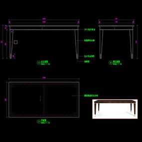 美式轻奢餐桌CAD书桌办公桌家具图库