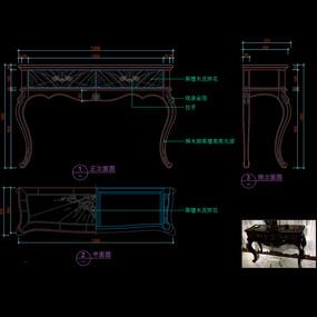 美式书桌CAD办公桌玄关桌家具