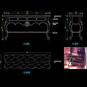 美式玄关桌CAD书桌办公桌图库
