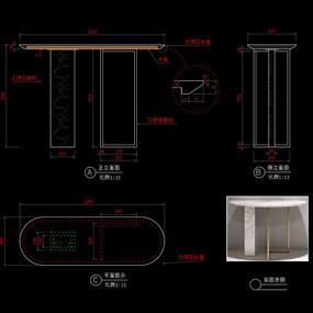 轻奢玄关桌CAD书桌家具图库
