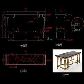 五金家具餐桌CAD轻奢餐台桌子图库