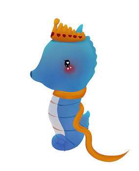 原创可爱卡通皇冠海马