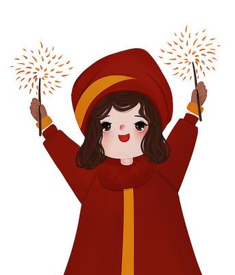 原创新年可爱卡通放烟花开心女孩