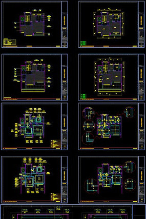 三层三居新中式别墅装修CAD施工图