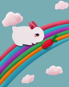 原創可愛卡通兔子紅蘿卜白云