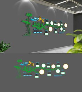 创意树枝企业发展历程文化墙