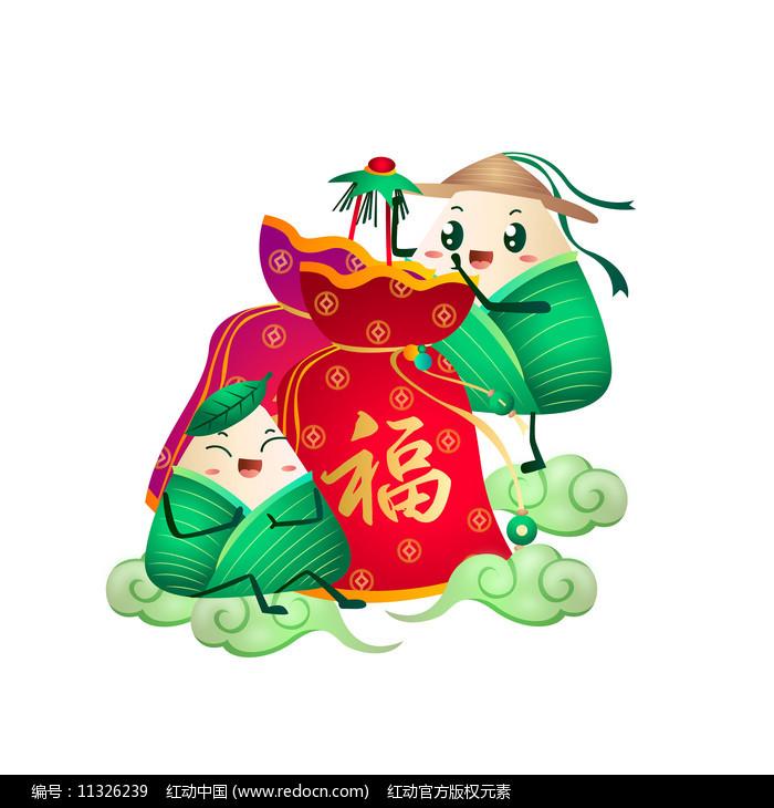 端午粽子挂福袋传统习俗卡通图片
