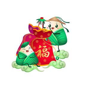 端午粽子挂福袋传统习俗卡通