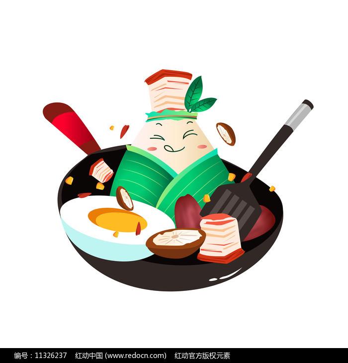 五花肉粽子厨房元素卡通图片
