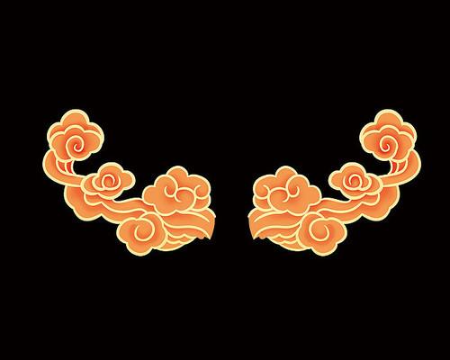 原创手绘卡通中国风古典金色祥云装饰窗贴