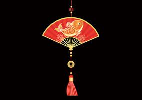 原创手绘卡通中国风锦鲤鱼纹扇子吊坠窗贴