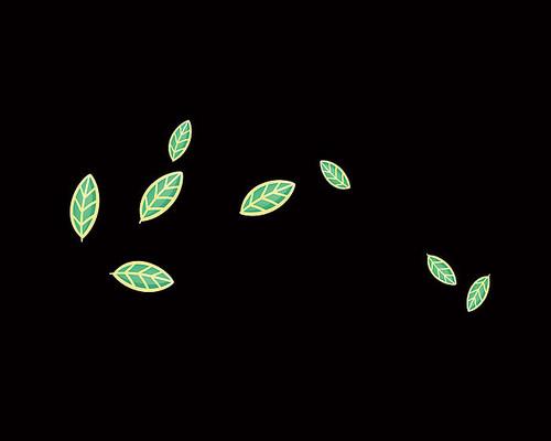 原创手绘卡通中国风散落的金边叶子插画