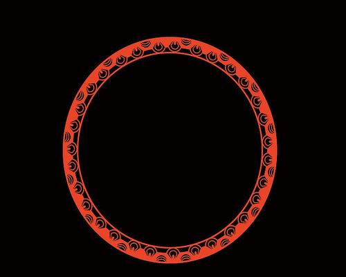 原创手绘卡通中国红喜庆圆形边框窗花剪纸