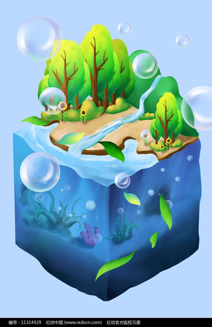 原创元素水底世界植物与水图片