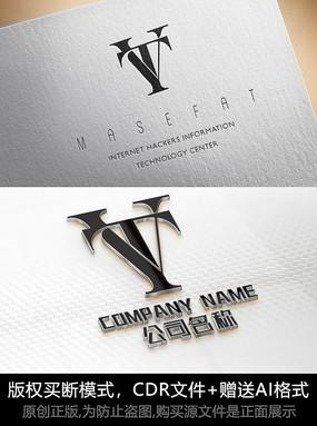 VT字母logo标志字母商标设计
