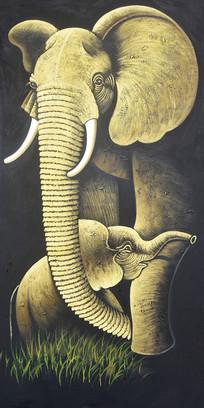 纯手绘非洲大象母子油画玄关