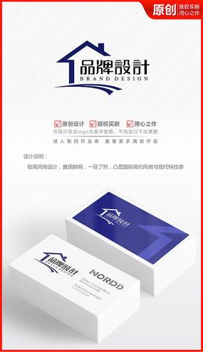 房屋房子造型房产中介公司logo商标志