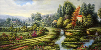 高清手绘公园风景油画装饰画