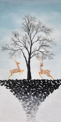 高清手绘生命之树梅花鹿油画玄关