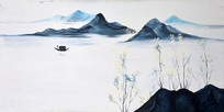 高清水墨高山流水风景油画