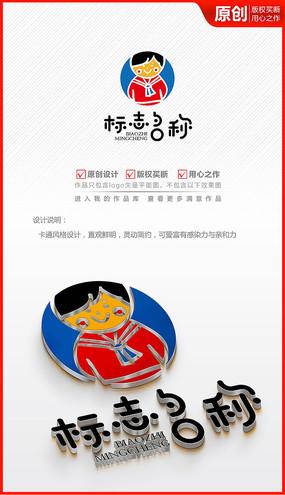 卡通可爱小男孩儿童学生绘画logo商标志