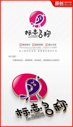 卡通可爱小鸟品牌logo商标志设计