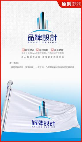 立体科技高楼体工程建筑公司企业logo