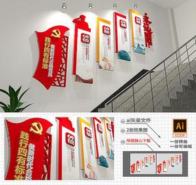 楼梯四有标准做合格党员文化墙