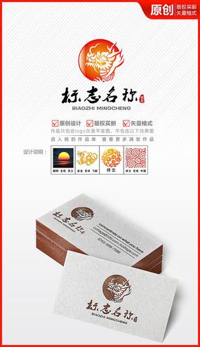 中国风飞龙王logo商标设计