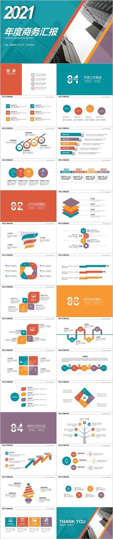 彩色新年计划工作总结年度工作汇报PPT