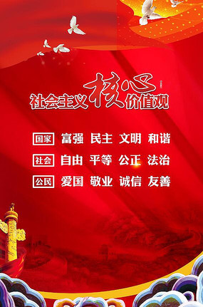 高端大气红色社会主义核心价值观海报