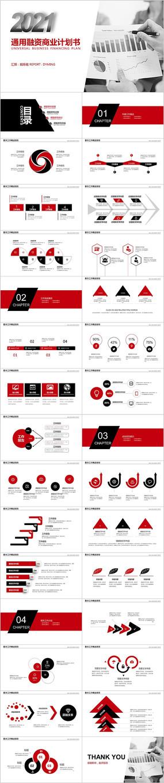 红黑色2021通用融资商业计划书PPT