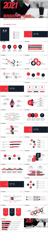 红黑色通用创业项目商业融资计划书PPT
