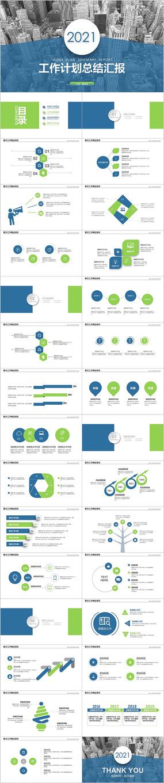 蓝绿色商务汇报新年计划年终总结PPT