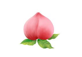 原创手绘卡通写实成熟的桃子水果插画