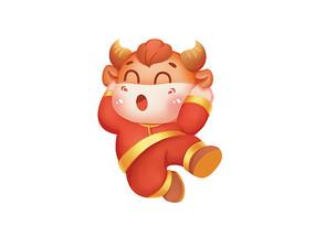 原创手绘中国红喜庆卡通跳跃的小牛插画