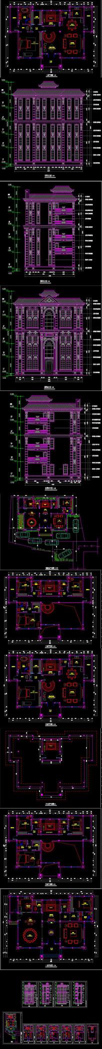 全套欧式建筑外立面CAD施工图