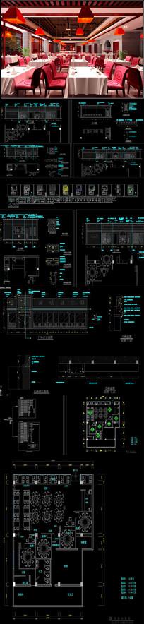 全套中式餐厅CAD施工图
