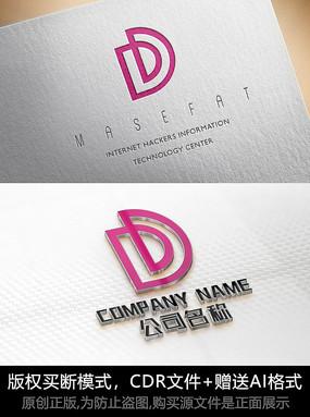 D字母logo标志字母商标设计