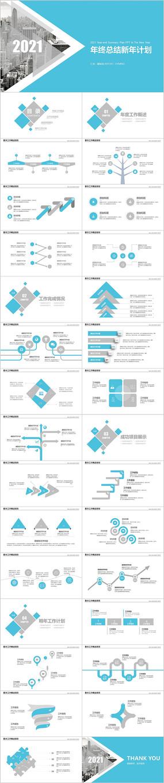 蓝色2021商务汇报新年计划年终工作总结PPT