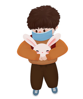 原创可爱卡通抱兔带口罩男孩