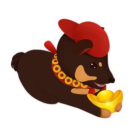 原创可爱卡通动物元宝狗