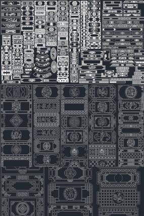 中式花格屏风CAD