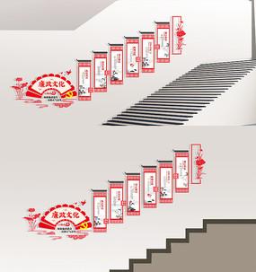 中式廉政楼梯走廊布置文化墙