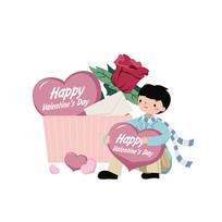 浪漫爱情手绘插画